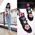 Summer Style Ethnic Women Sandals 2017 Bohemian Fashion Genuine Leather Casual Flowers Flats For Woman Beach Shoes Gladiator