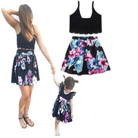 Mother and Daughter Sets Baby Girl black flower dress European and American Mommy Kids Children Clothes Family Matching Outfits