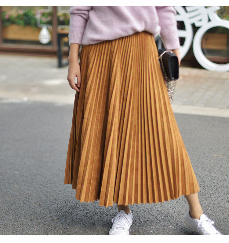 19 Two Layer Autumn Winter Women Suede Skirt Long Pleated Skirts Womens Saias Midi Faldas Vintage Women Midi Skirt 54
