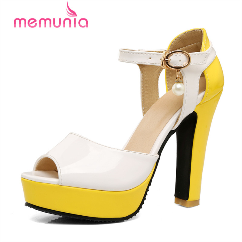 ФОТО MEMUNIA High heels shoes buckle mixed colors peep toe party platform shoes women sandals big size 34-43 elegant sexy