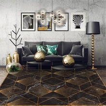 Fashion Golden geometric imitation black marble carpet Bedroom living room non-slip doormat Bedside rug custom made floor mat