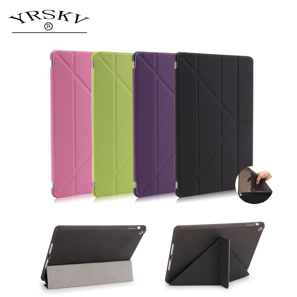 case for ipad 9.7 inch 2017 2018 release YRSKV Smart Sleep Wake Up Advanced Shell PU Leather Cloth TPU Soft Rear Cover