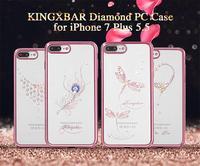 KINGXBAR luxe Telefoon Case voor iPhone 7 7 Plus Cover Swarovski Rhinestone Crystal PC Coque voor iPhone (Rose Gold/goud Rand)