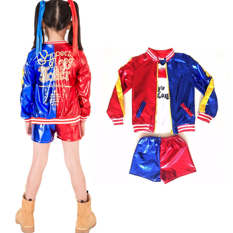 2018 New Kids Girls Suicide Squad Harley Quinn Cosplay Coat Shorts Top Set Halloween Costumes 3 pcs Suit Jacket+T shirt+Shorts