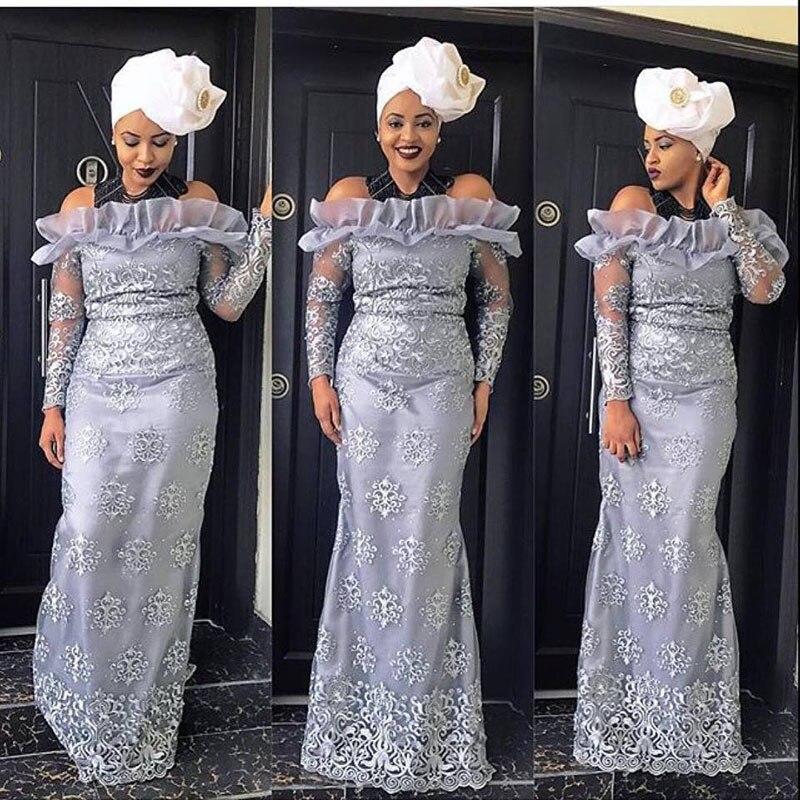 2019 nigéria robe de soirée épaule dénudée à manches longues sud-africain sirène robes de soirée dentelle Applique femmes africaines vêtements de cérémonie