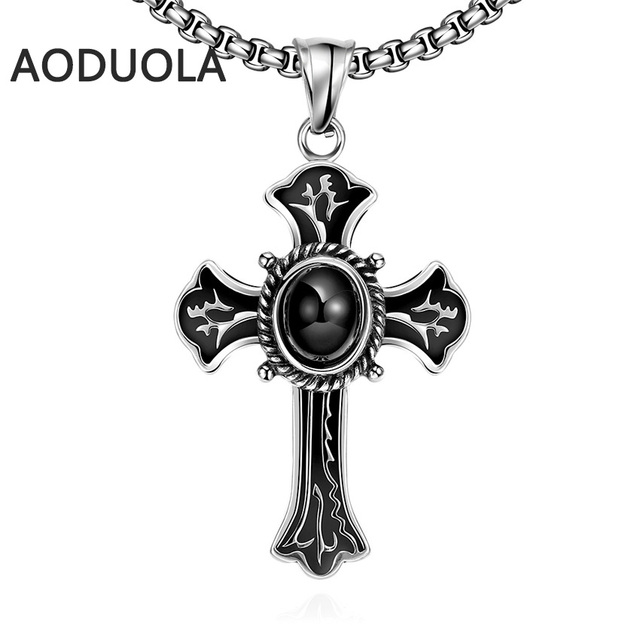Stainless steel Necklace Punk style Long Chain Black Cross Pendants Cool  Necklaces For Women and men's