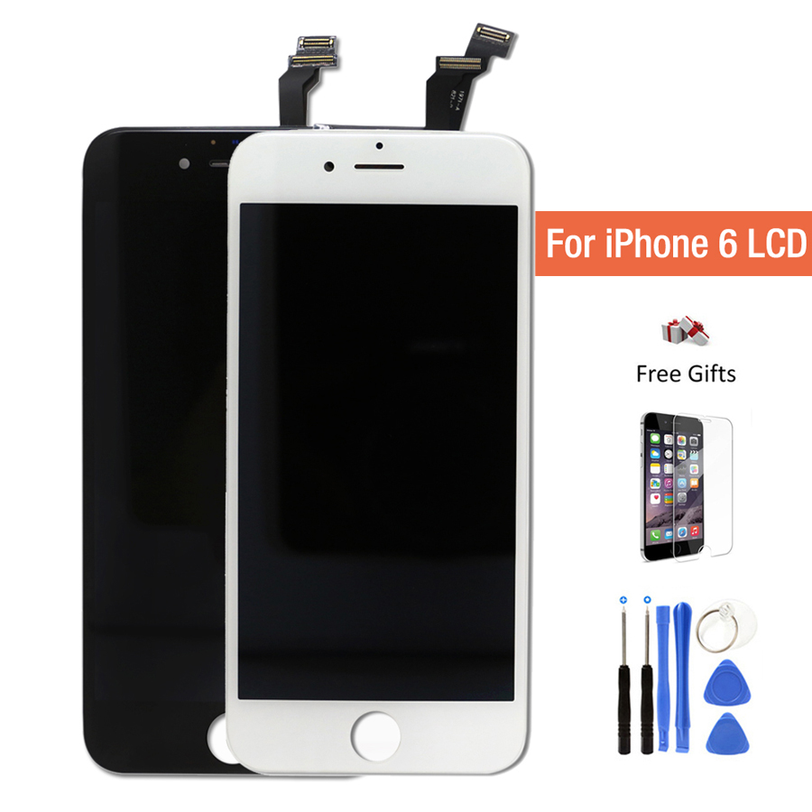 Ecran for iPhone 6 lcd iPhone 6 Screen display pantalla touch digitizer assembly replacement with tools+tempered glass film free grade a replacement lcd glass screen ecran touch display digitizer assembly for oppo r9 plus 6 0 inch white with free tool kit