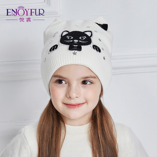 ENJOYFUR de punto de algodón sombrero chica lindo gato de dibujos animados de  invierno sombreros para fbe5dd8748a
