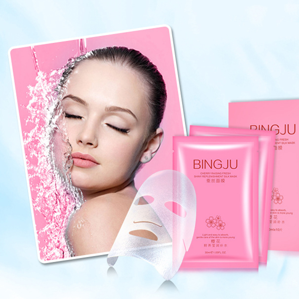 10 Pcs/Set Bingju Cherry Extract Moisturizing Face Mask Hydrs