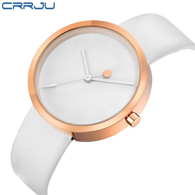 Top Brand CRRJU Leather Strap Quartz  Women Watches Fashion Formal Analog Japan Movement Waterproof Ladies Dress Watch Clock