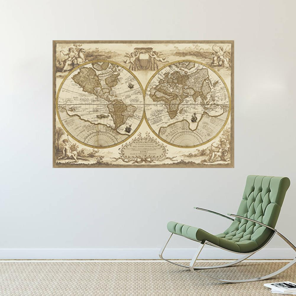 Vintage style retro world map poster home decoration wall for Retro wall art