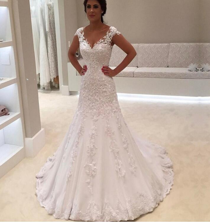 Robe de mariage <font><b>Sexy</b></font> V Neck Short Sleeves Lace Mermaid <font><b>Wedding</b></font> <font><b>Dress</b></font> 2019 Hot Cheap Bridal Gowns Custom Made Vestido de Noiva image