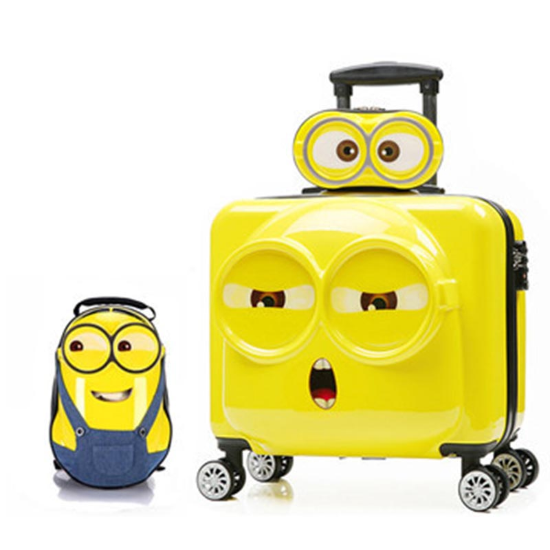 LeTrend 3D Cute Cartoon Children Rolling Luggage Set Spinner Suitcase Wheels Students kids Cabin Trolley 20