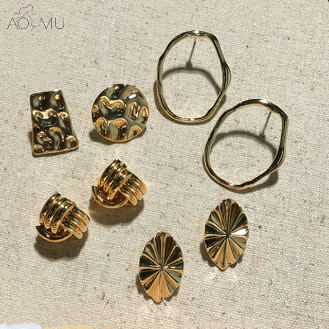 AOMU Exquisite Gold Metal Asymmetric Geometric Twisted Knot Small Stud Earrings Sets Circle Leaf Earrings for Woman Girl Gift