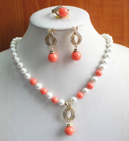 hot sell new engagement! Wholesale Women's 8mm white and pink pearl Necklace earring ring(7/8/9) jewelry set #242