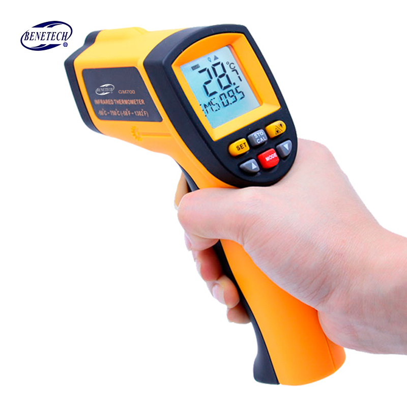 Digital laser infrared thermometer Non-Contact LCD IR Infrared Thermometers Gun GM700 -50~750C Temperature Meter Free Shipping t010 new digital temperature meter tester mastech ms6520a laser pointer non contact infrared ir thermometer free shipping