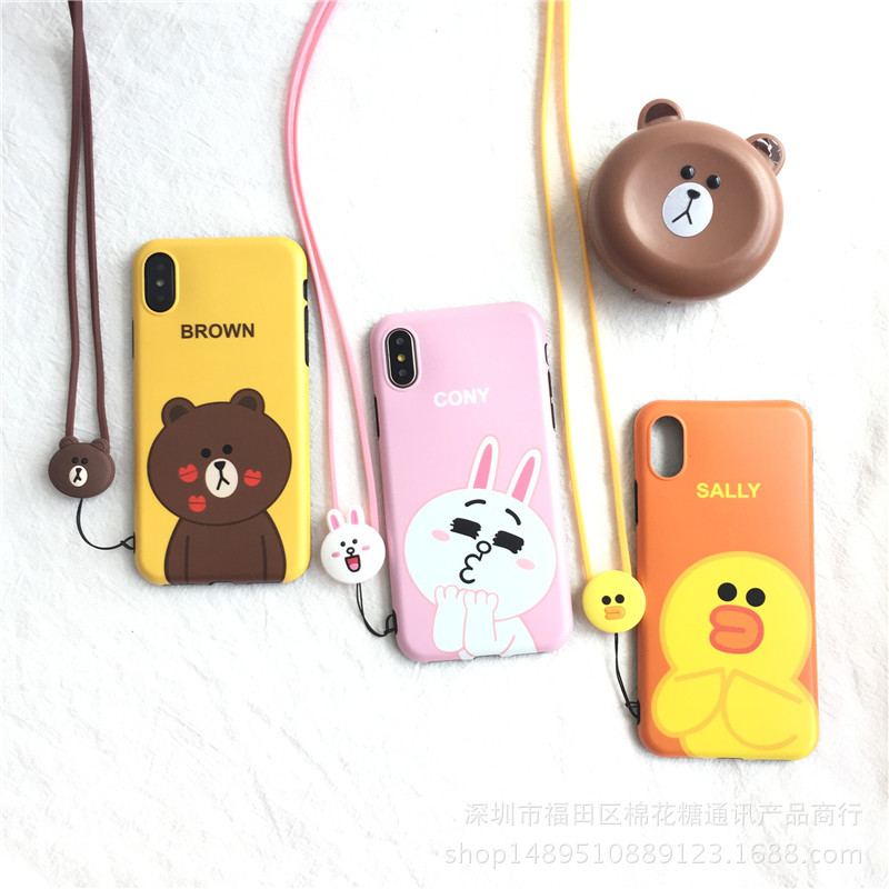 newest collection c31d6 8e8ed Cuptakes Cute Soft Silicone Case for Apple iPhone X 6 6S 7 8 Plus Cover  String Brand Coque strap Cartoon Brown Bear Rabbit Sally