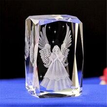 Hochzeit Gefälligkeiten 3D Schutz Engel Kristall Handwerk Laser Gravur Cube Fengshui Handwerk Hause Dekoration Zubehör Personalisierte Geschenk