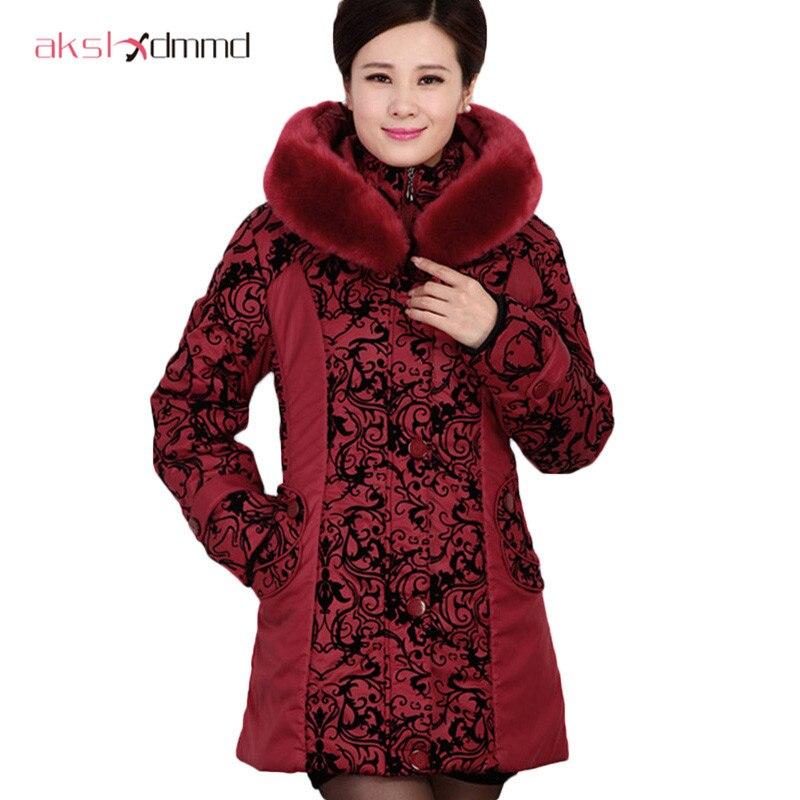 AKSLXDMMD2017 Middle aged winter jacket women Thicken Warm Cotton padded Slim Plus Size Fur Collar winter