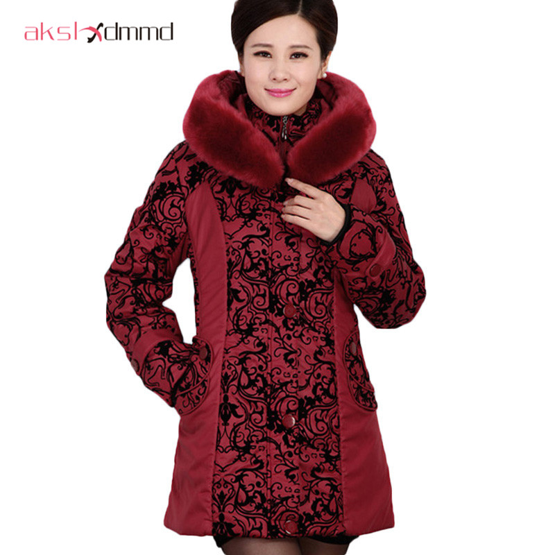 AKSLXDMMD2017 de Mediana Edad chaqueta de invierno mujeres Espesar Caliente de A