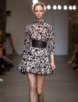Women Zi Three Quarter Sleeve Silk And Cotton Blend Master Embroidery Mini Dress