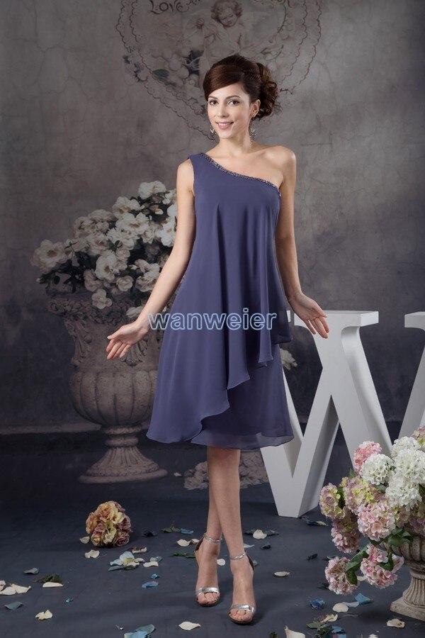 Livraison gratuite mariées 2015 nouveau design sexy une épaule robes de da sérums perles genou-longueur mousseline de soie bon marché de Demoiselle D'honneur Robes