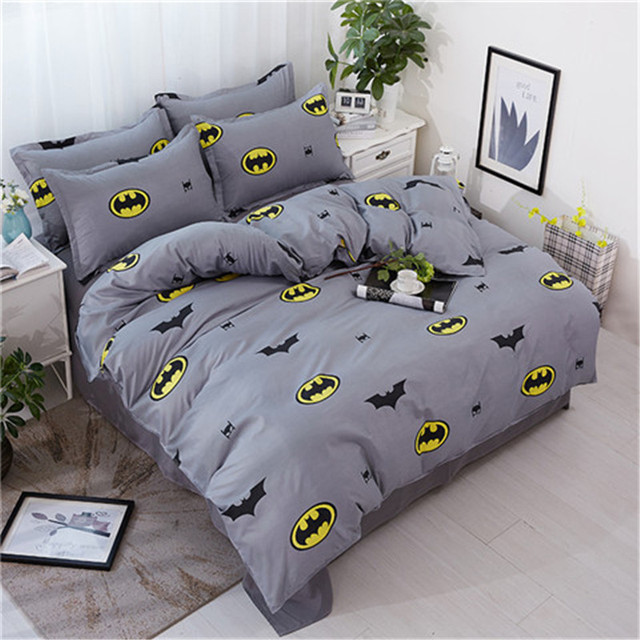 9de89e2143e0 Fashion Cartoon gray black yellow Stripe Batman 3 4pcs bedding set kids bed  Duvet Cover sheet Pillowcase