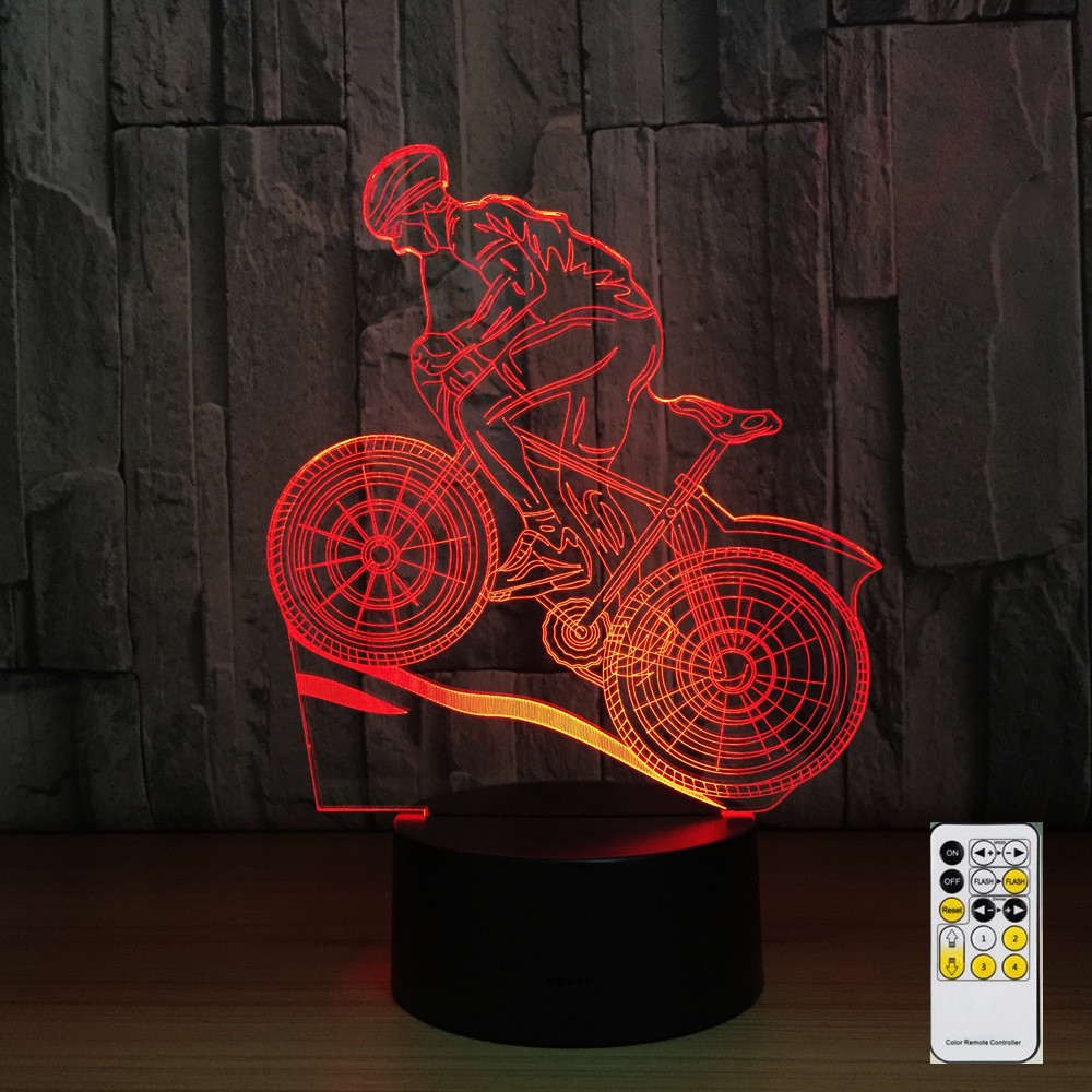Remote Control Mountain Bike 3D Night Light 7 Colors Lamp USB LED Lamp Sleeping Lamp as Home Decoration New Year Gift Drop Ship