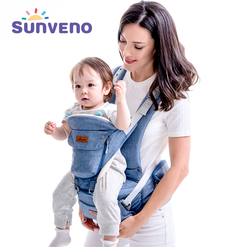 SUNVENO Baby Carrier Hipseat Newborn Wrap Pouch Sling-Backpack Front-Facing Comfortable