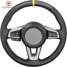 LQTENLEO черная замша из натуральной кожи DIY Ручная сшитая противоскользящая крышка рулевого колеса автомобиля для Mazda MX-5