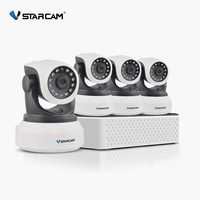 VStarcam 1 NVR 4CH + 4 PCS C7824WIP HD Wireless IP Camera IR-Cut Night Vision Audio Recording Network CCTV Onvif Indoor IP