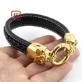 Jewelry New Leather gold Skull Bracelets Stainless Steel Men Bracelets Fashion Jewelry bracelets for women