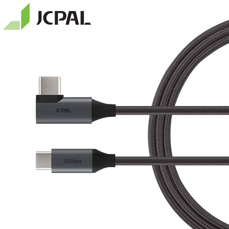 JCPAL FlexLink USB 3.1 Cable Type-C Gen2 10Gbps 90-degree Connector At One End 1.5-meter Length USB-C 10Gbps 87W 4K 60Hz 53298