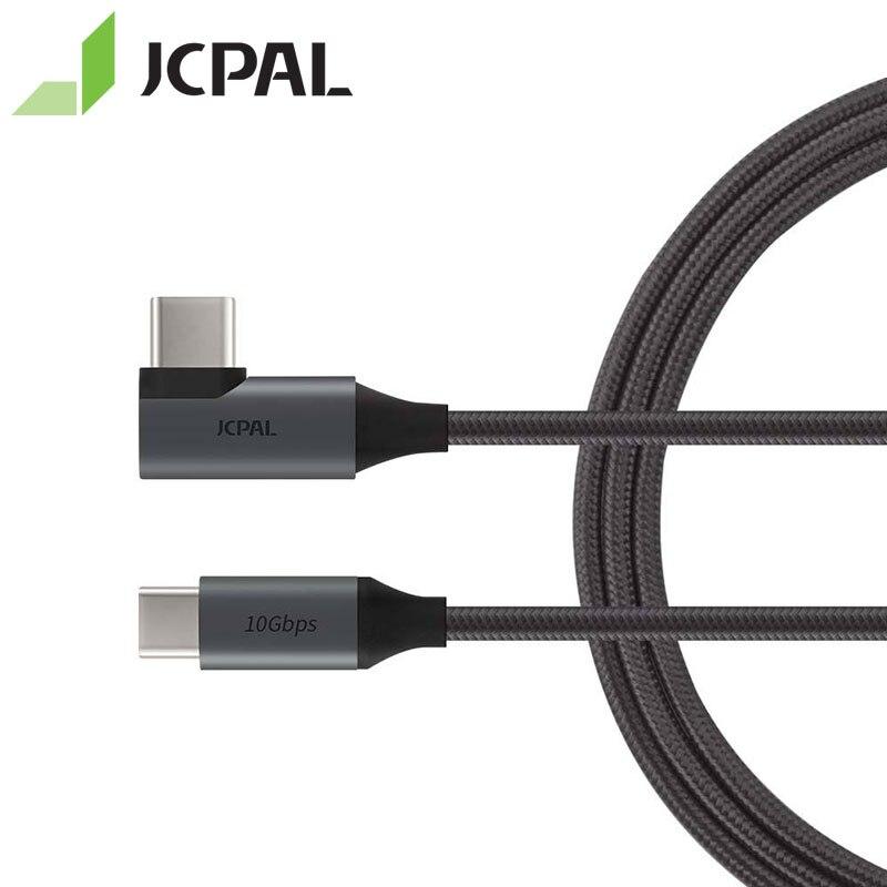 Jcpal flexlink usb 3.1 cabo tipo-c gen2 10 gbps 90 graus conector em uma extremidade 1.5 metros de comprimento USB-C 10 gbps 87 w 4 k 60 hz 53298