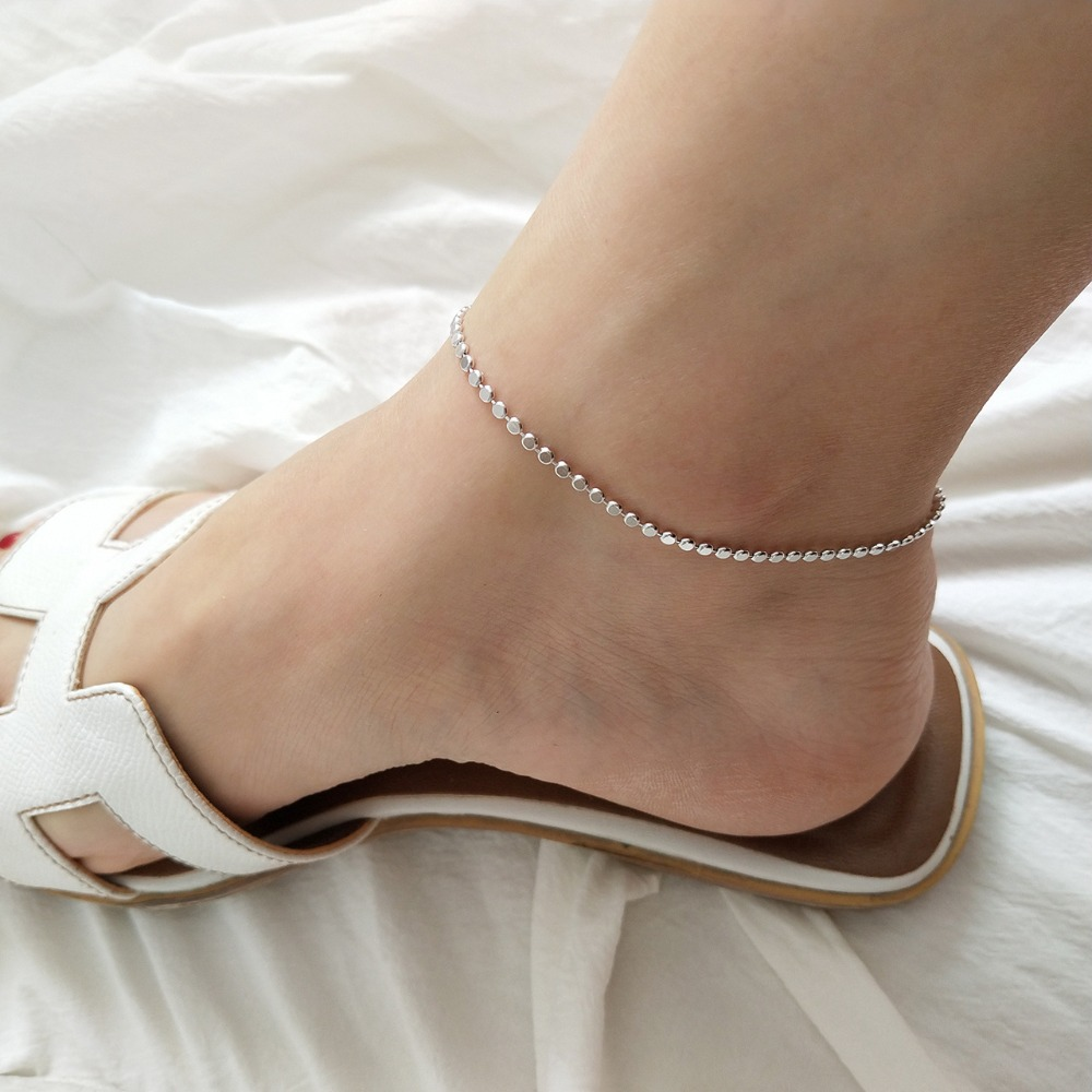 Women's Authentic 925 Sterling silver Flat round Coin &Chain Geometric Anklet Bracelet Adjust fine Jewelry TLS57