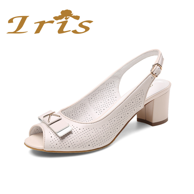 6f547591c46 IRIS Ladies Medium Heel Sandals 2017 Summer New Peep Toe Perforation  Genuine Leather Bow Tie Shoes Woman Sandalias Russian Size
