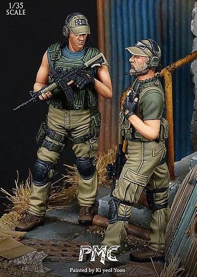 (2pcs/lot)1:35 Resin Figure Model Kit  Western Private Mercenary  Unpainted  Soldiers