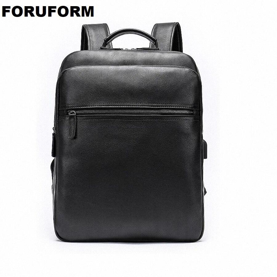 Sac à dos en cuir véritable pour hommes sac à dos pour ordinateur portable de haute qualité USB charge hommes sacs à dos pour hommes corée sac de voyage décontracté LI-2361