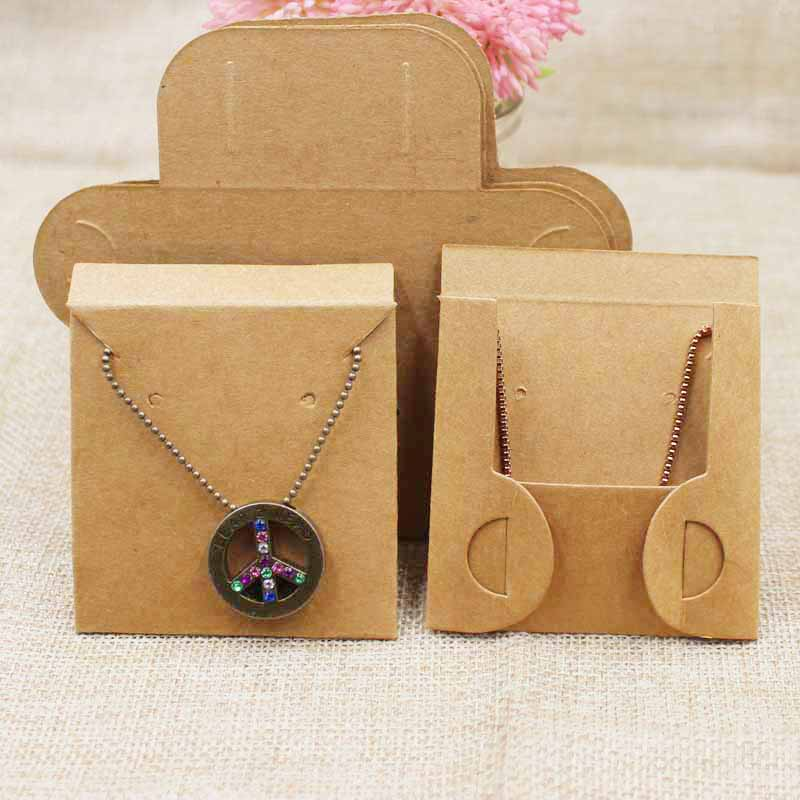100pcs Per Lot Kraft/black Necklace Pendant Packing Card With Back Folded Jewelry Display Card 63*63cm