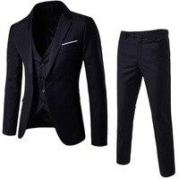 Oeak/мужские однотонные классические пиджаки из 3 предметов, комплекты костюмов, мужской пиджак в деловом стиле + жилет + штаны, комплекты кост...
