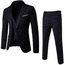 Oeak Men 3 Pieces Solid Classic Blazers Suit Sets Men Business Blazer +Vest +Pants Suits Sets Spring Autumn Slim Fit Wedding Set