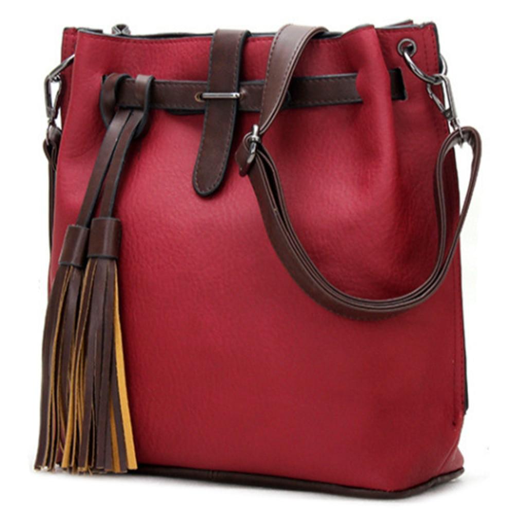 Women PU Leather Handbags Bucket Vintage Shoulder Bags Women Tassel  Messenger Bag Large Retro Shoulder Bag Simple Crossbody Bag fdc6c2c69d