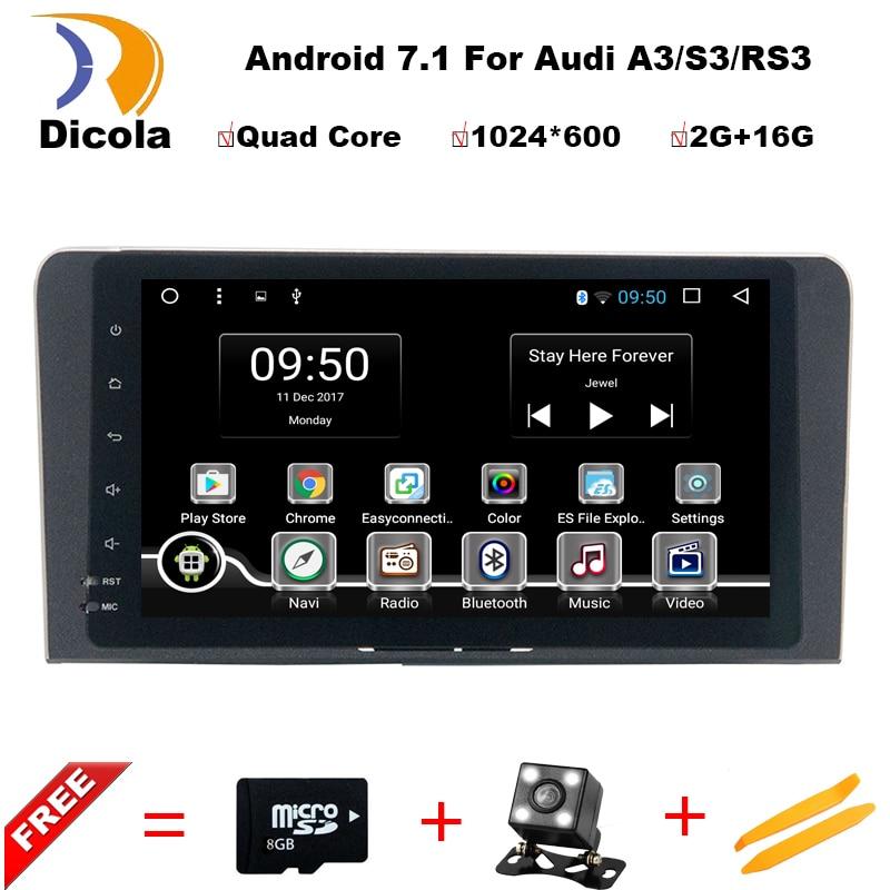 цена на HD 1024*600 8 inch Quad Core Android 7.1 Aluminum alloy panel car dvd gps player For Audi A3 S3 2003-2013 car radio multimedia