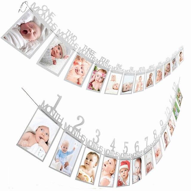 12 месяцы фоторамка баннер первый декорации с днем рождения 1st для маленьких мальчиков и девочек мой 1 Год Вечерние поставки, розовые, серебристые, золотые