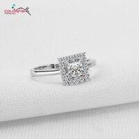 Colorfish oryginalna 925 sterling silver halo style 1 karatowym princess sona pierścionek kobiety elegancki moda engagement wedding ring finger