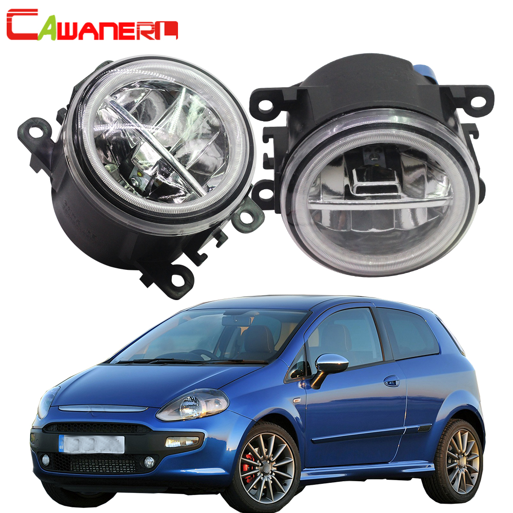 Cawanerl Car Styling 4000LM LED Lamp Fog Light Angel Eye DRL Daytime Running Light 12V For