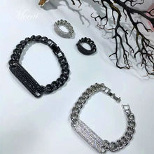 Fashion Thick Chain Steam Punk Bracelet font b Ring b font Jewelry Sets Brand Designer Micro