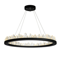 brief design modern crystal chandeliers black hanging lights AC110V 220V lustre dinning room light fixtures bar lamp