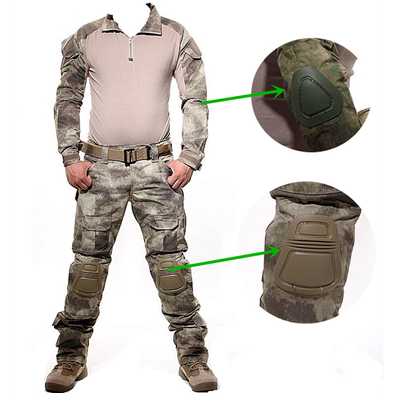 Good Quality Tactical Camouflage Hunting Clothes Military Army Combat Uniform With Detachable Knee Pads Ghillie Suit spring autumn military camouflage army uniform ghillie suit jacket and trousers hunting clothes with cap face mask for hunting