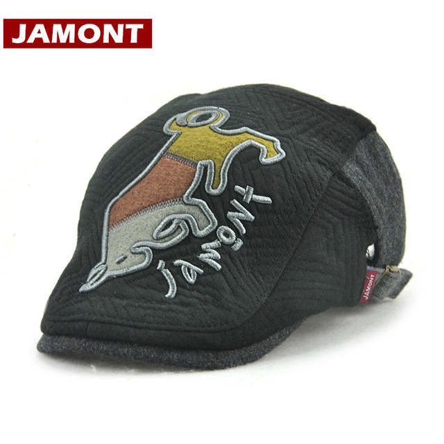 JAMONT  Winter Kids Hat Boy Beret Visors Cap Embroidery Bull Warm Boys Flat  Caps c7b22c954dd5